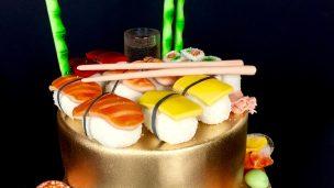 sushi cake gâteau pâte a sucre sushis