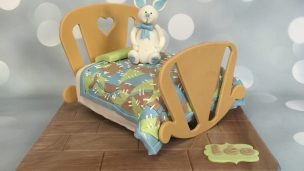 IL 0:58 / 1:03 lapin sur son lit en patchwork tout en pâte à sucre et gâteau