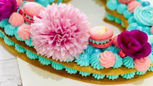 Heart cake ou gâteau en forme de cœur façon Number cake pâte sablé et crème diplomate
