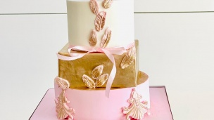 Gâteau en pâte à sucre rond et carré à angle droit
